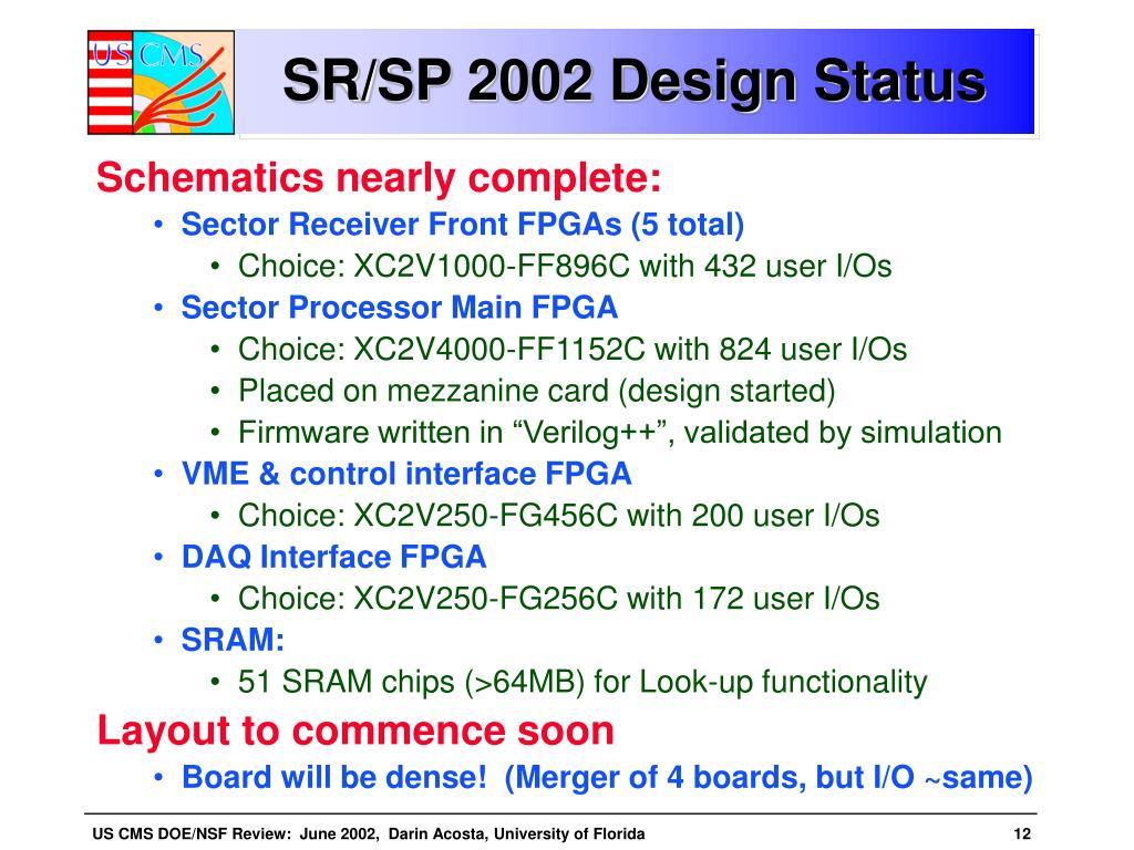 SR/SP 2002 Design Status