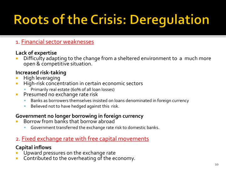 Roots of the Crisis: Deregulation