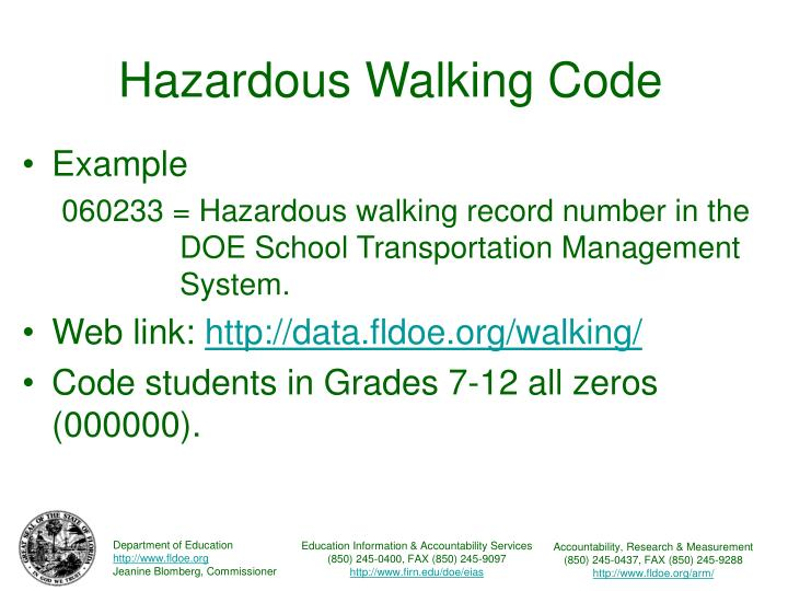 Hazardous walking code3