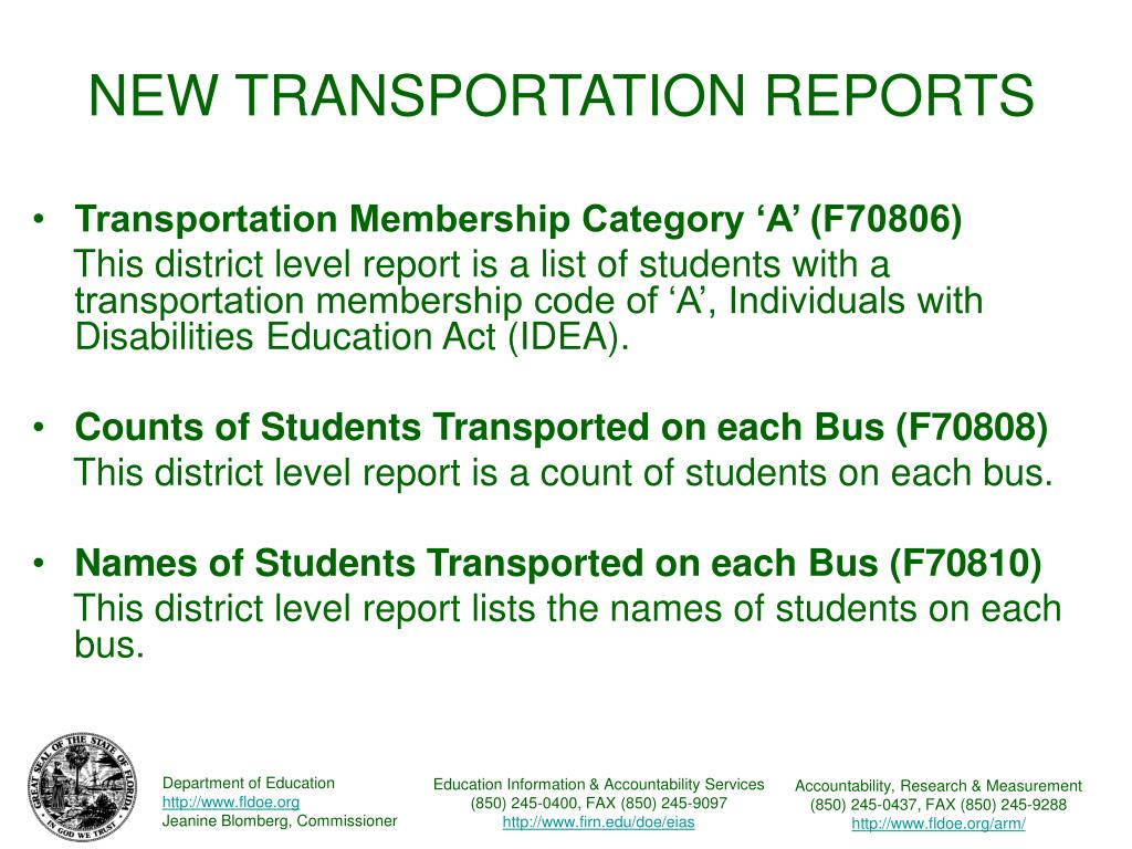 NEW TRANSPORTATION REPORTS