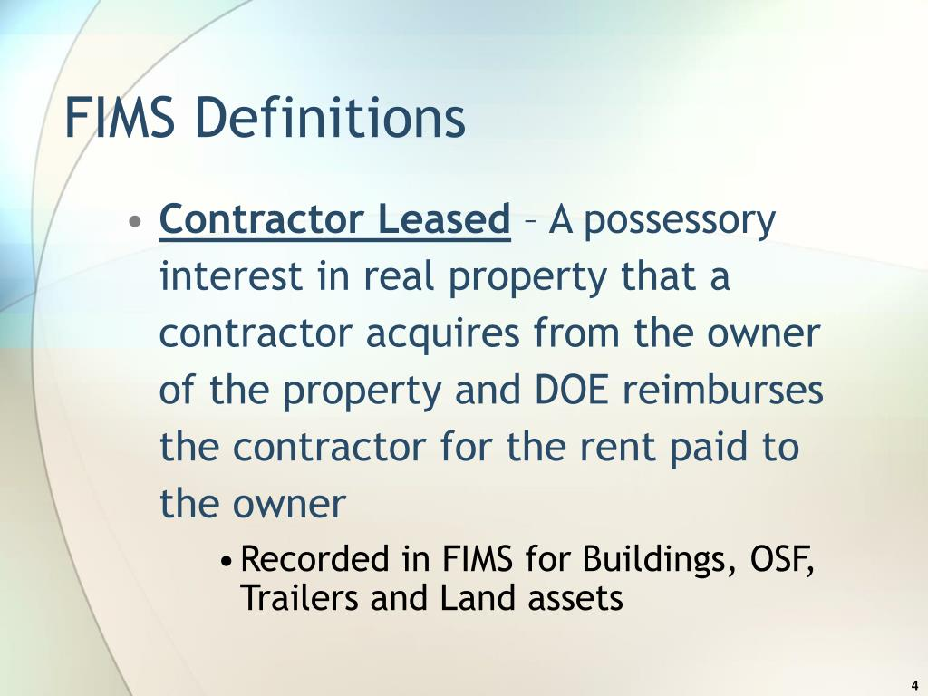 FIMS Definitions