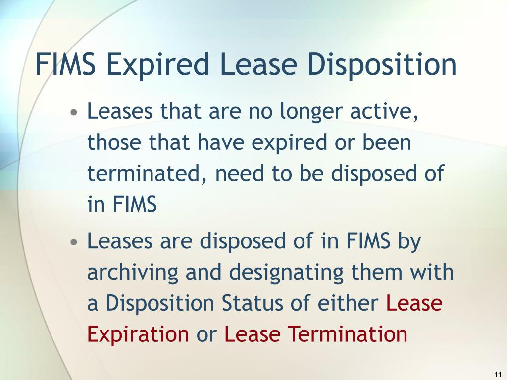 FIMS Expired Lease Disposition