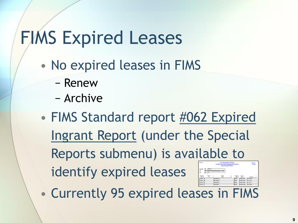 FIMS Expired Leases