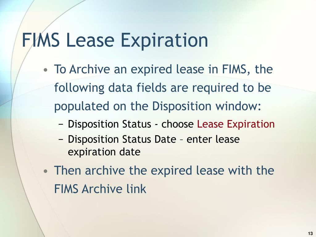 FIMS Lease Expiration