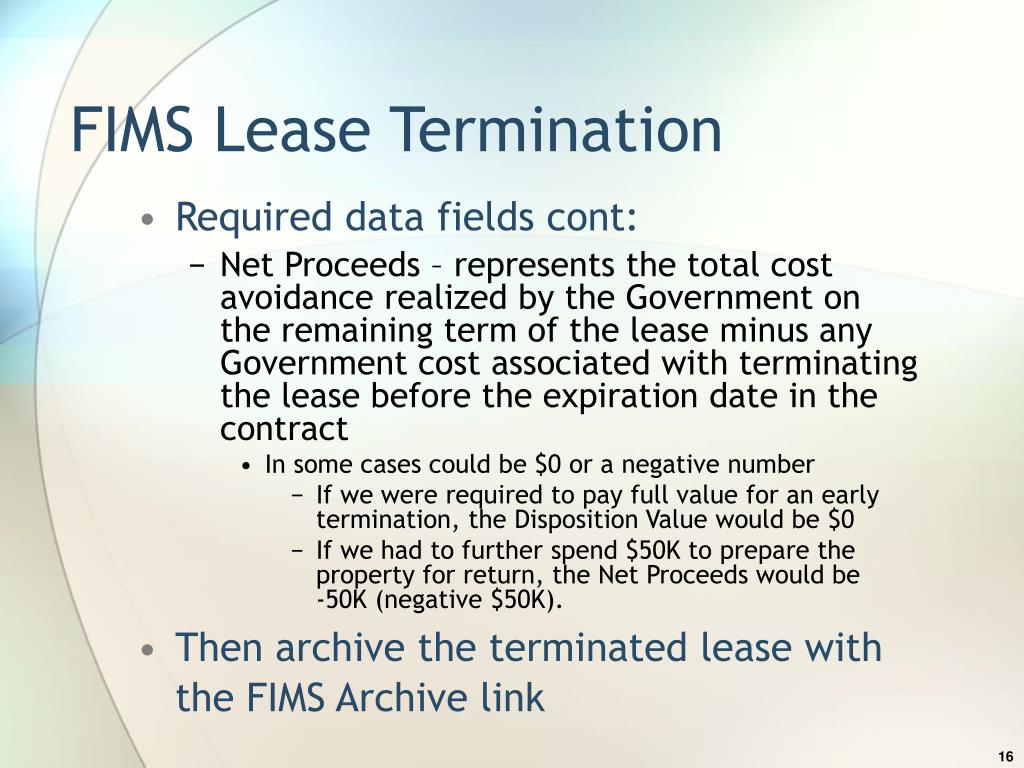 FIMS Lease Termination