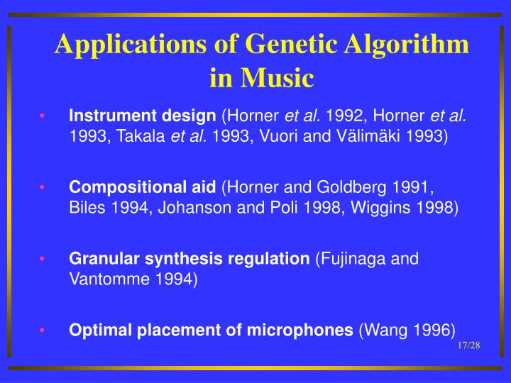 Applications of Genetic Algorithm in Music