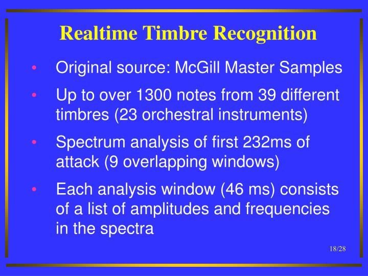 Realtime Timbre Recognition