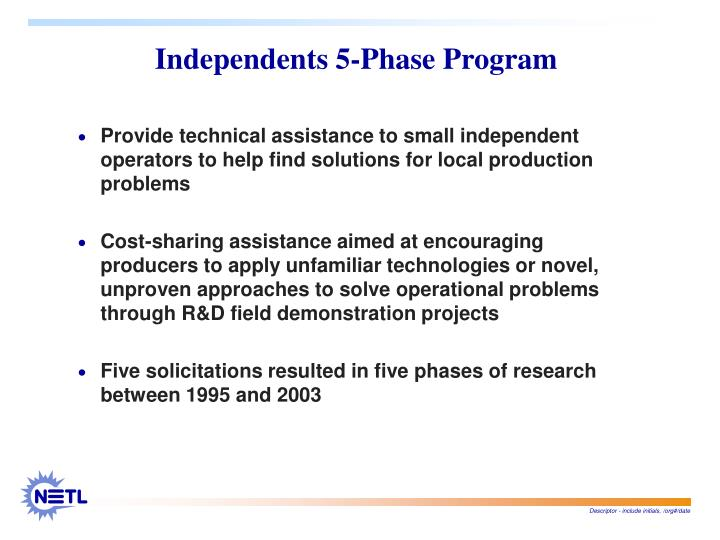 Independents 5 phase program