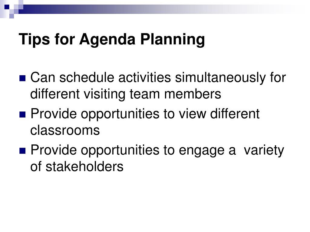 Tips for Agenda Planning