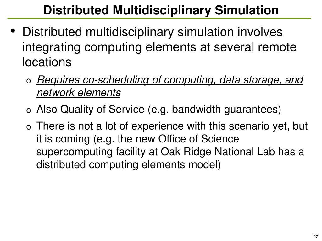 Distributed Multidisciplinary Simulation