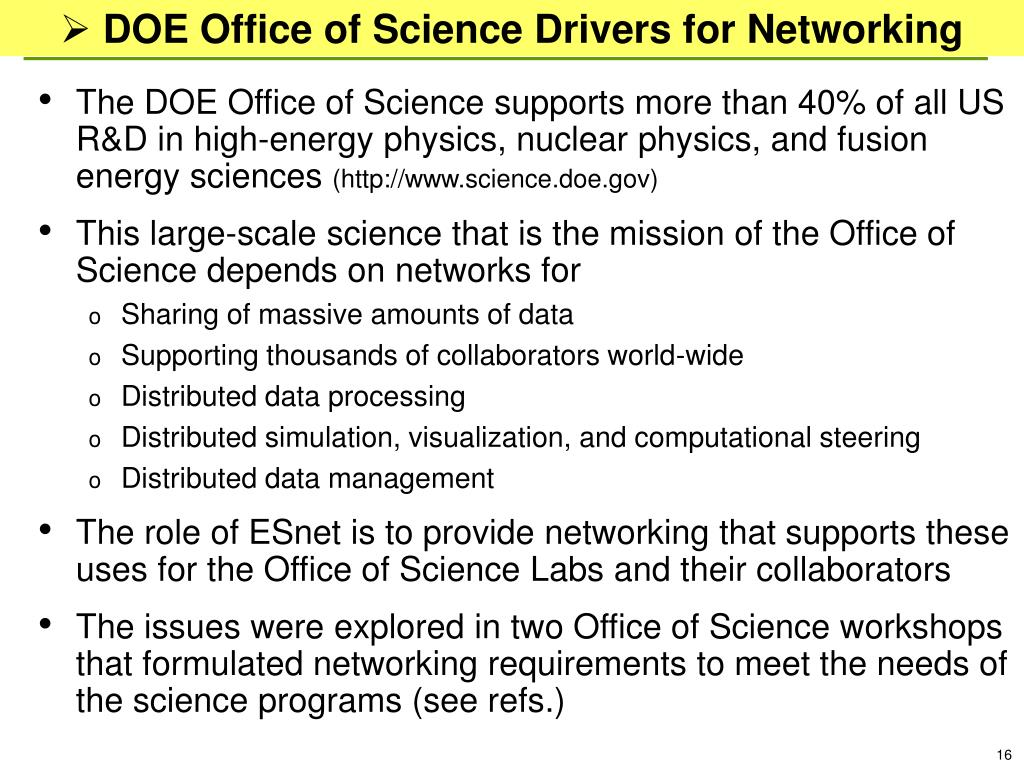 DOE Office of Science Drivers for Networking