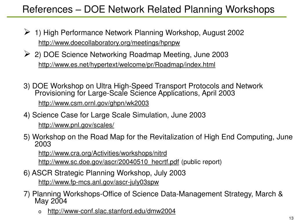References – DOE Network Related Planning Workshops