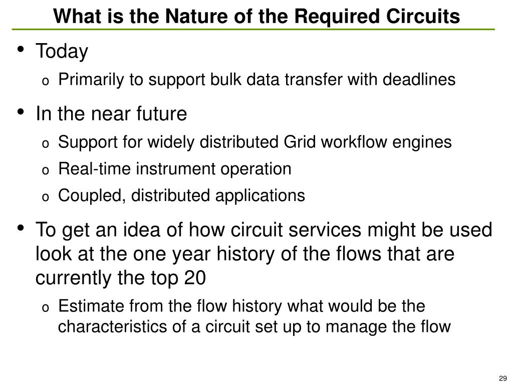 What is the Nature of the Required Circuits