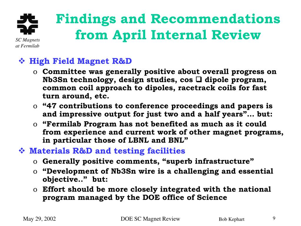 Findings and Recommendations from April Internal Review