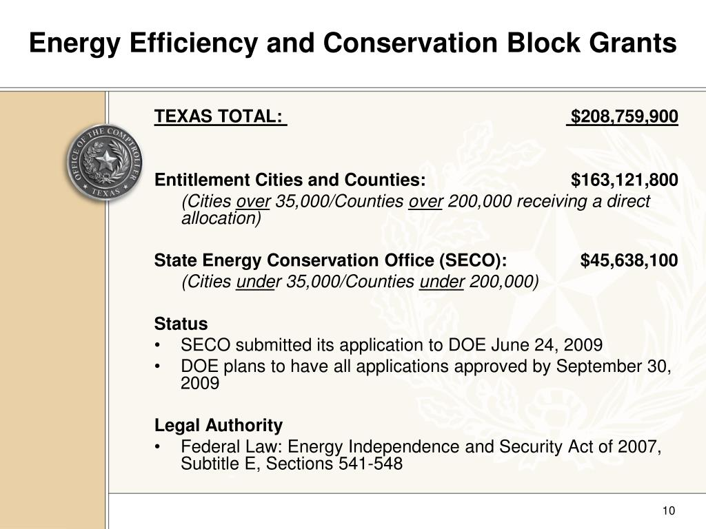 Energy Efficiency and Conservation Block Grants