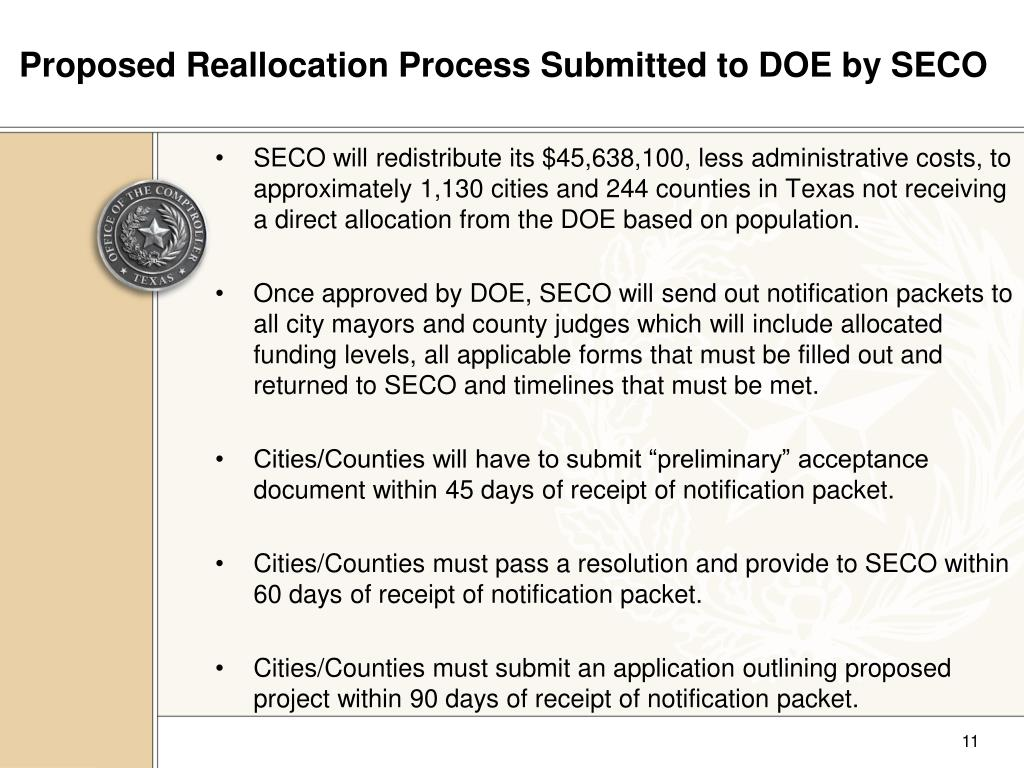 Proposed Reallocation Process Submitted to DOE by SECO