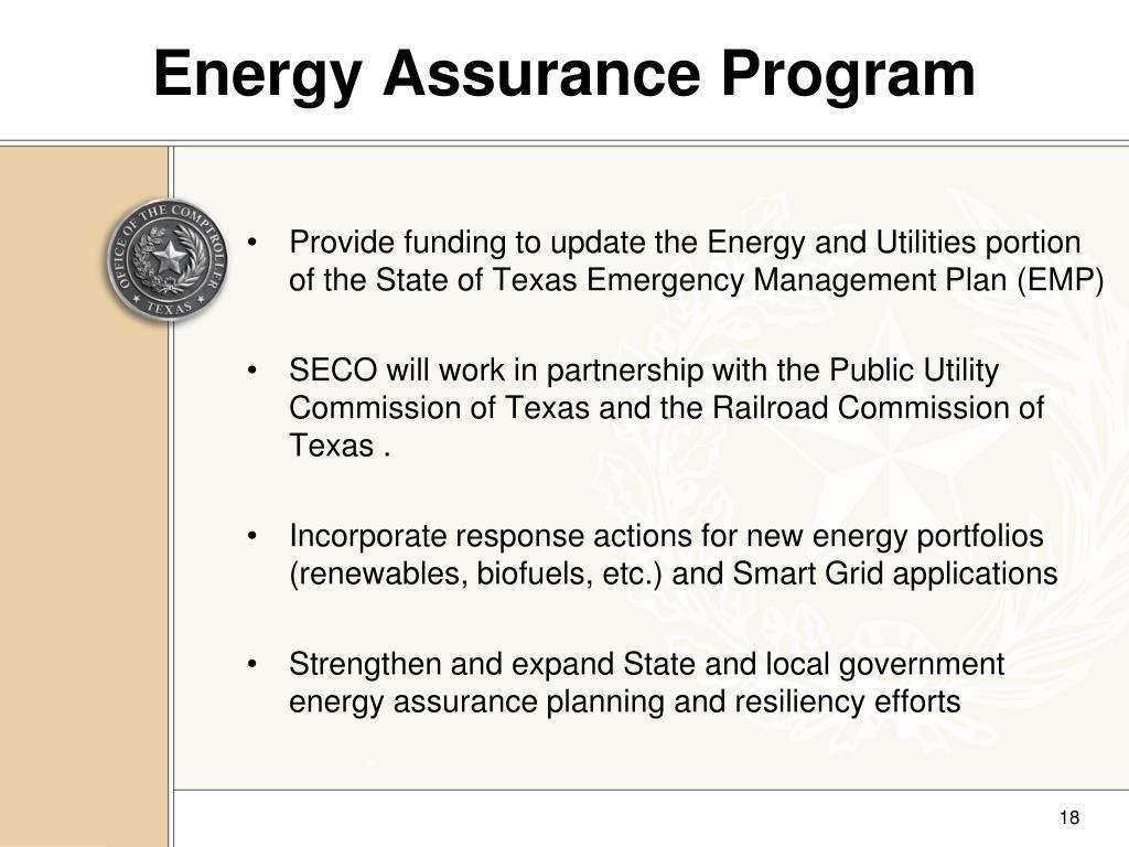Energy Assurance Program