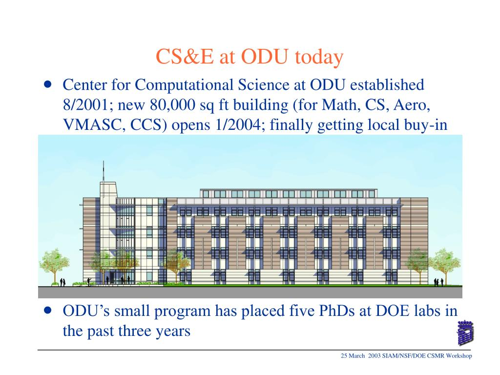 Center for Computational Science at ODU established  8/2001; new 80,000 sq ft building (for Math, CS, Aero, VMASC, CCS) opens 1/2004; finally getting local buy-in