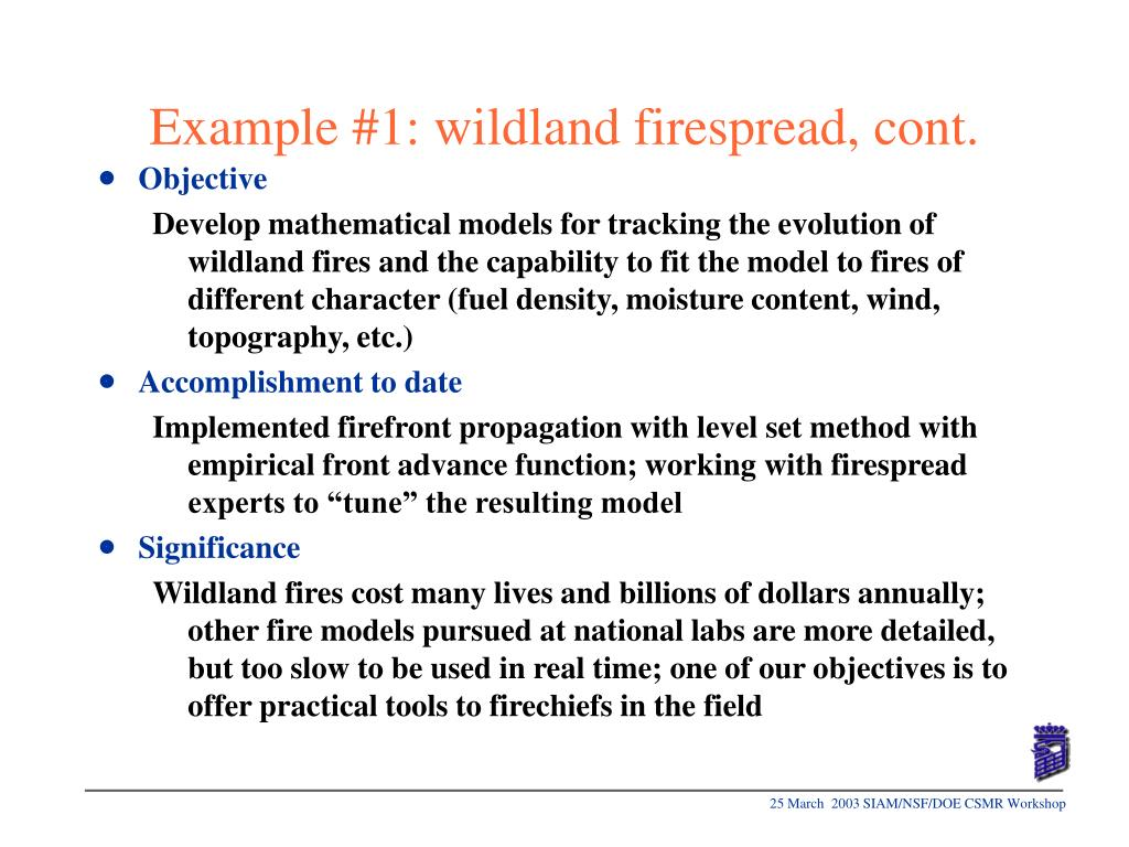 Example #1: wildland firespread, cont.