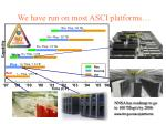 we have run on most asci platforms