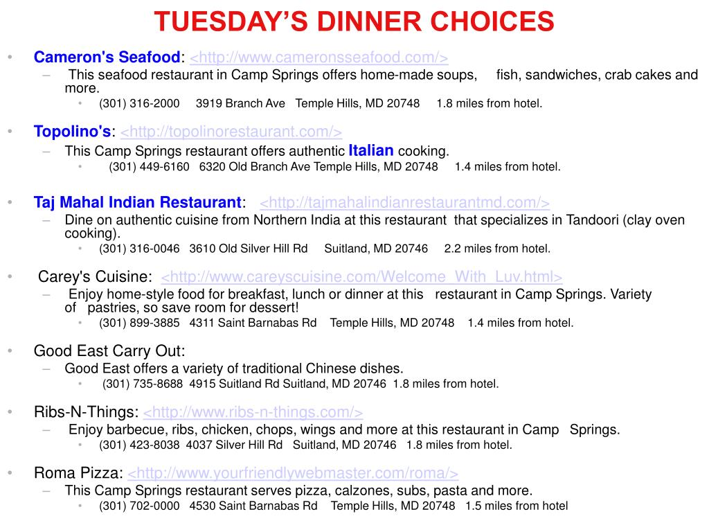 TUESDAY'S DINNER CHOICES