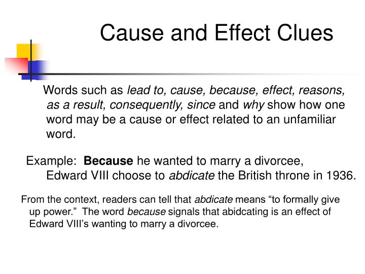 Cause and Effect Clues