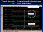 transit analysis comparison of schematic and post layout simulations