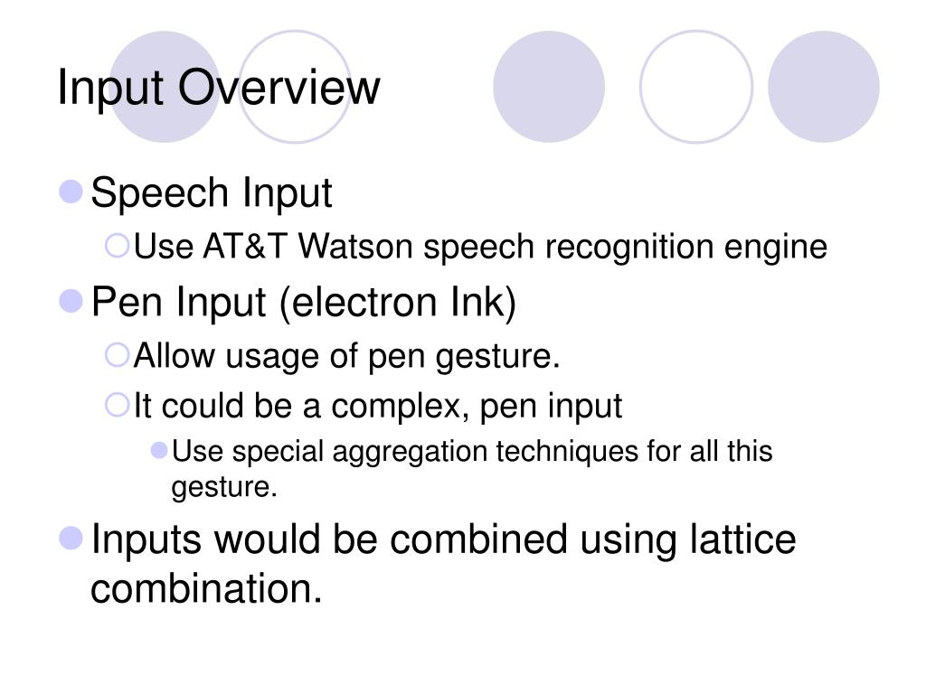 Input Overview