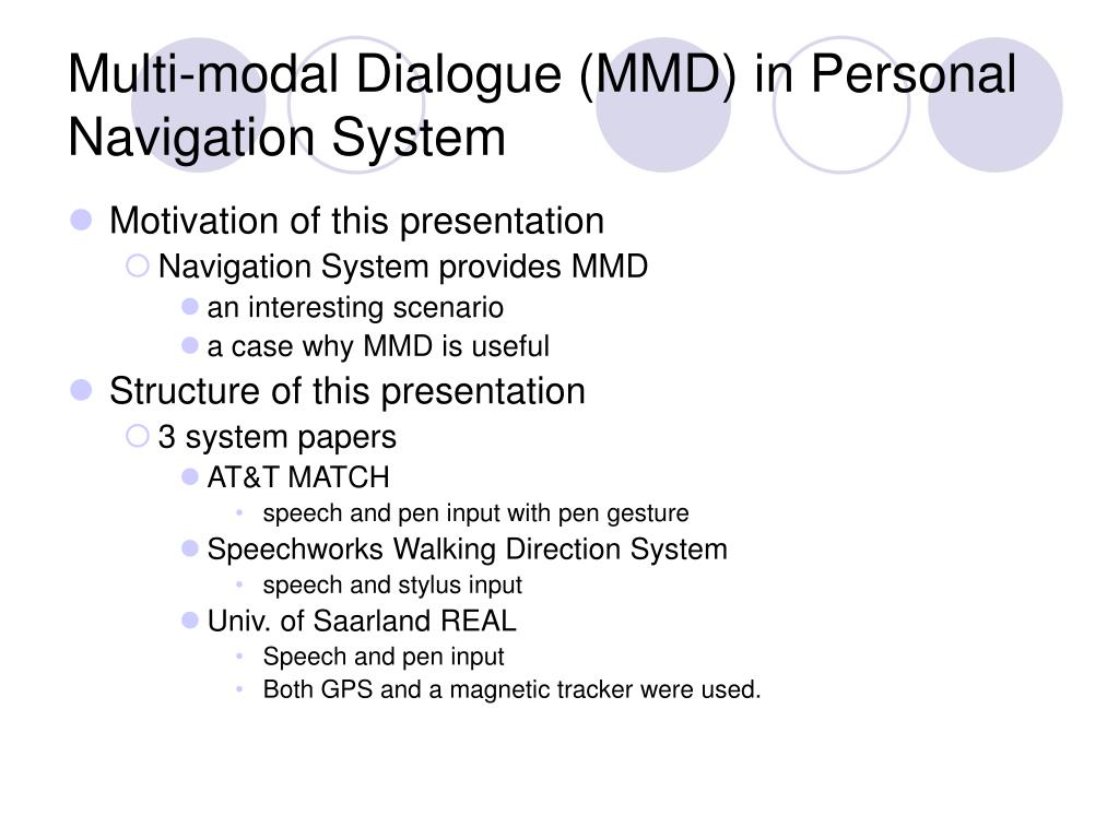 Multi-modal Dialogue (MMD) in Personal Navigation System