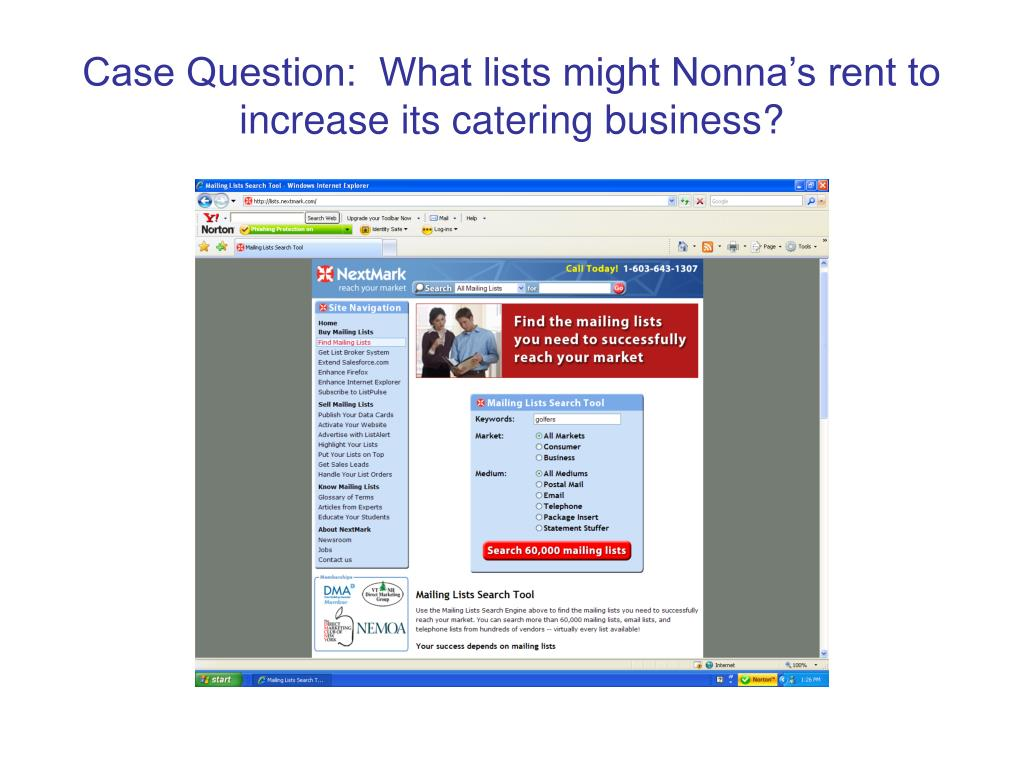 Case Question:  What lists might Nonna's rent to increase its catering business?