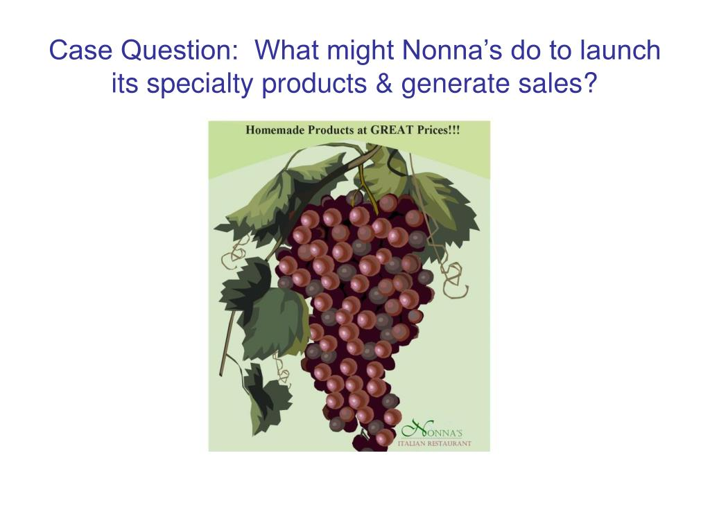 Case Question:  What might Nonna's do to launch its specialty products & generate sales?