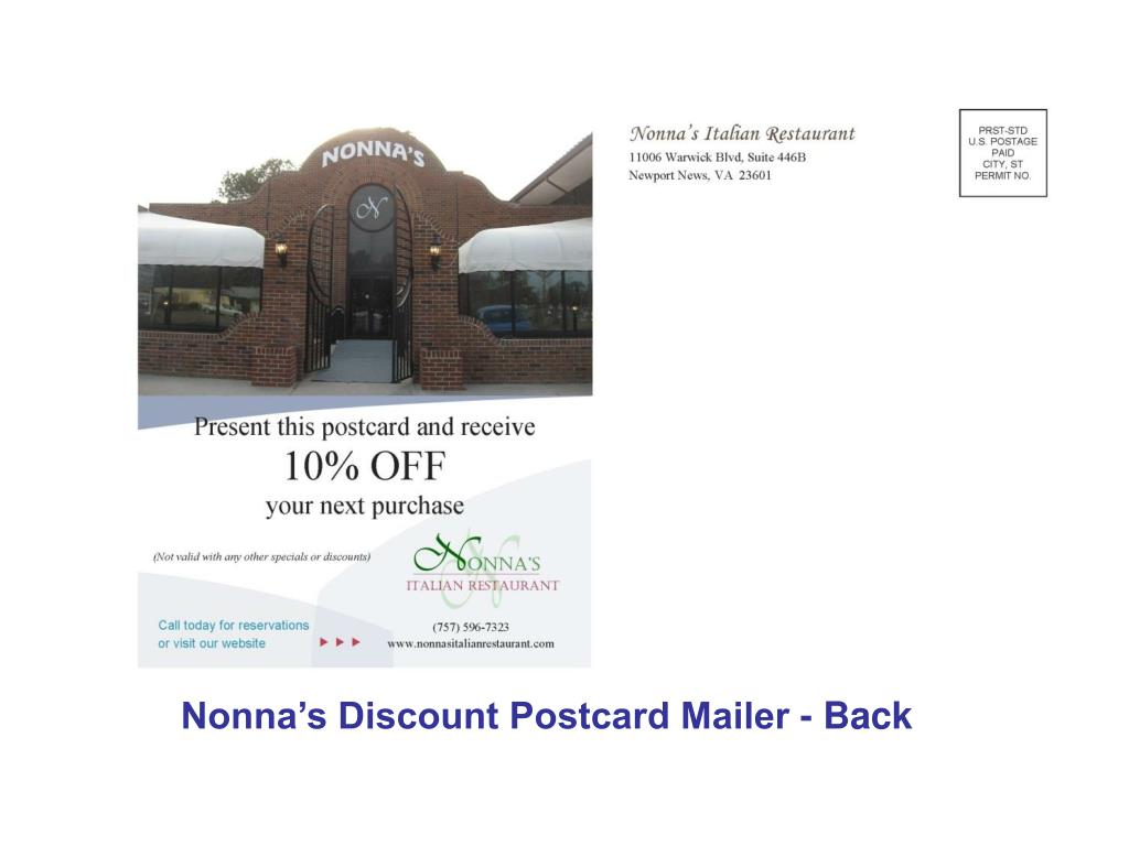 Nonna's Discount Postcard Mailer - Back