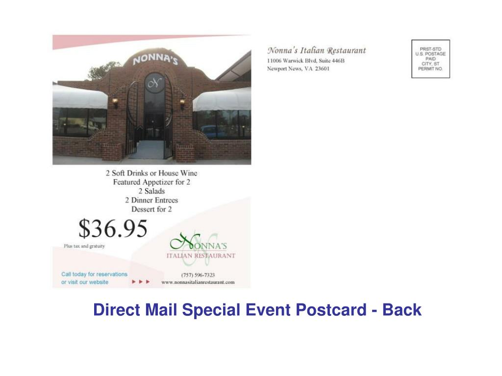 Direct Mail Special Event Postcard - Back