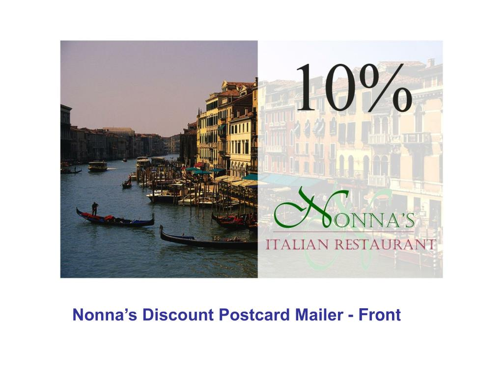 Nonna's Discount Postcard Mailer - Front