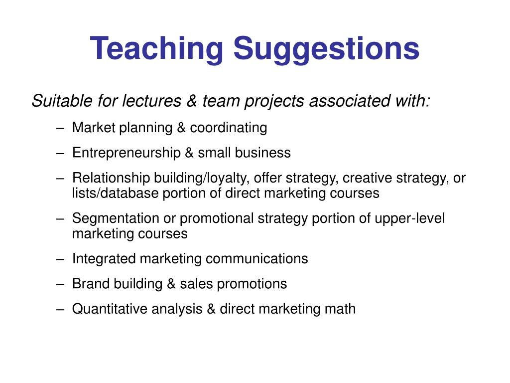 Teaching Suggestions