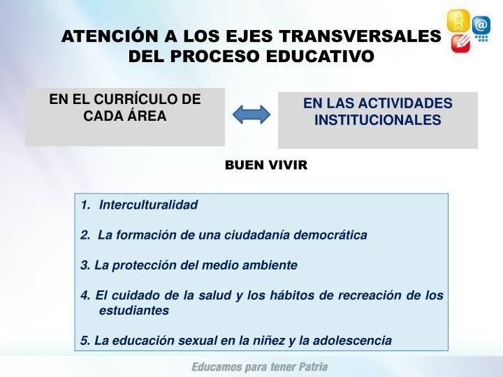 ATENCIÓN A LOS EJES TRANSVERSALES
