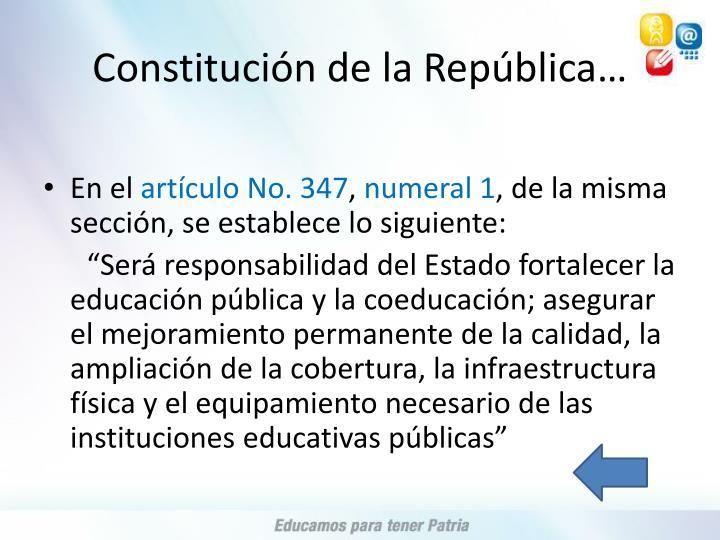 Constitución de la República…