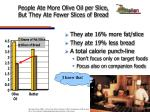 people ate more olive oil per slice but they ate fewer slices of bread