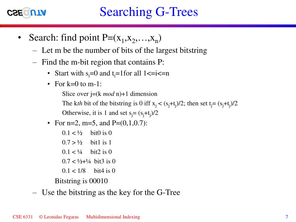 Searching G-Trees