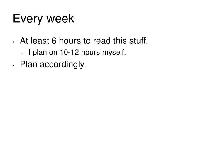Every week