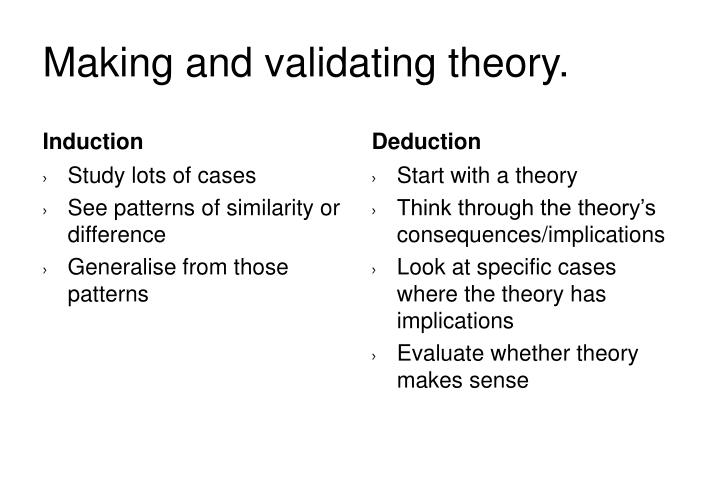 Making and validating theory.