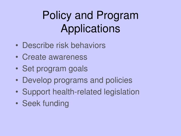 Policy and Program Applications