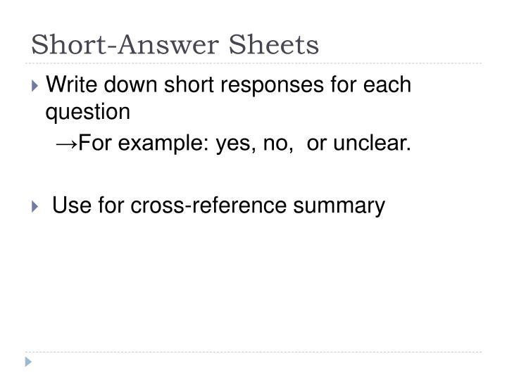Short-Answer Sheets