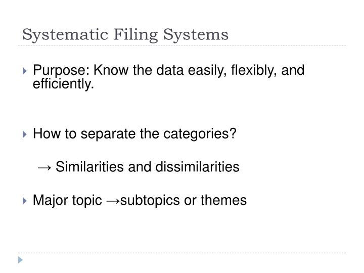 Systematic Filing Systems