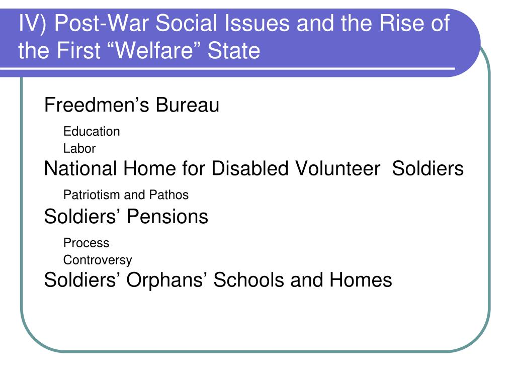 "IV) Post-War Social Issues and the Rise of the First ""Welfare"" State"