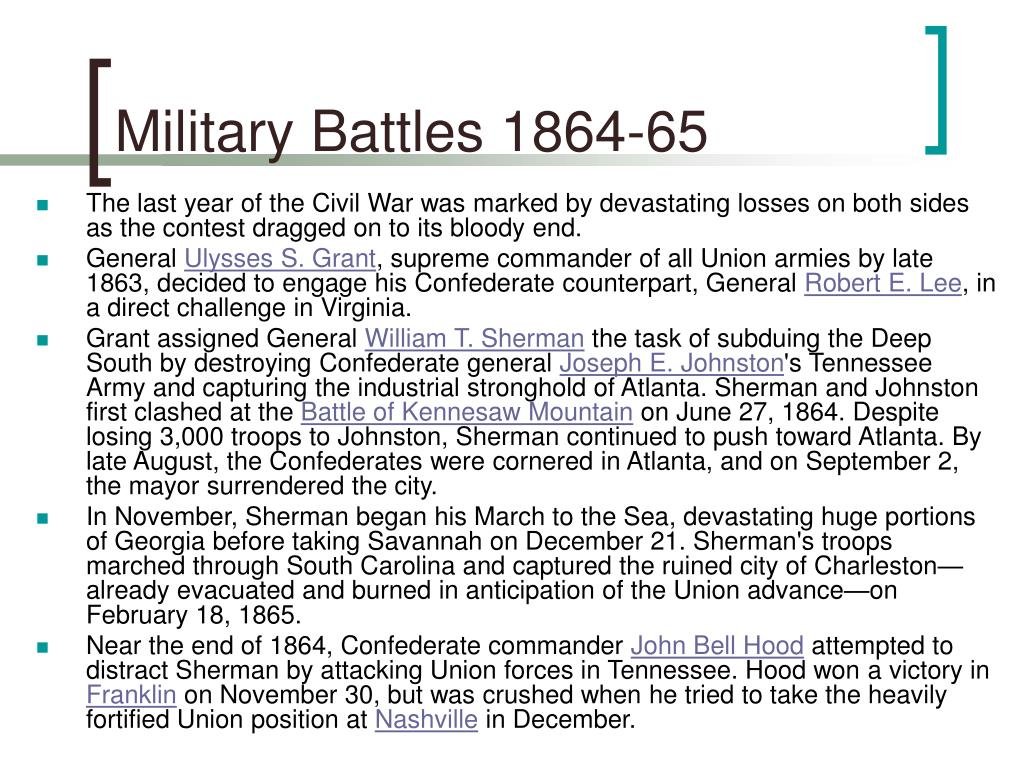 Military Battles 1864-65