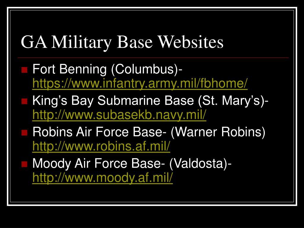 GA Military Base Websites