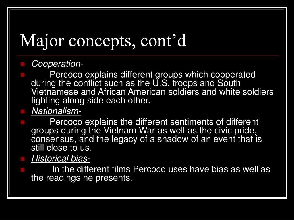Major concepts, cont'd
