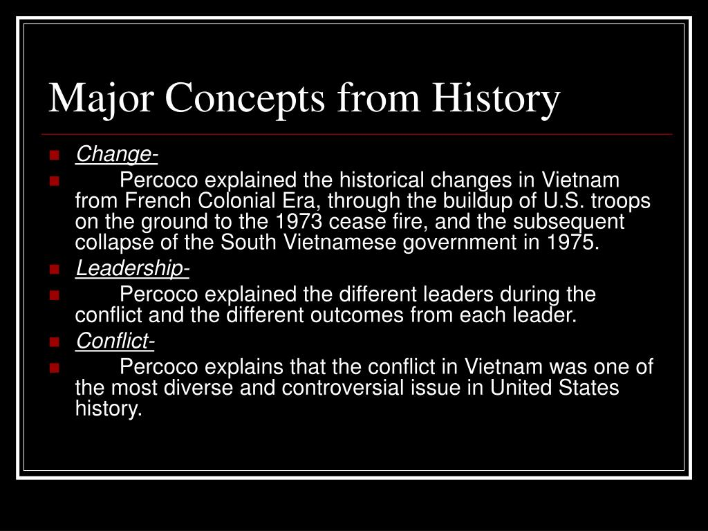 Major Concepts from History