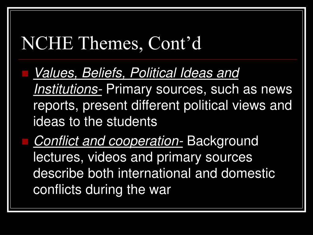 NCHE Themes, Cont'd